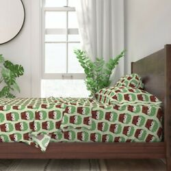 Hedgehog Cactus Cacti Hipster Pots Cute 100 Cotton Sateen Sheet Set By Roostery