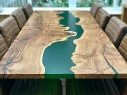 Green Wavy Transparent Epoxy Wooden Design Live Edge Dining Top Table Home Deco