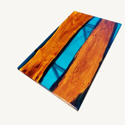 Wooden Blue Transparent Epoxy River Mappa Table Table Kitchen Deco Made To Order