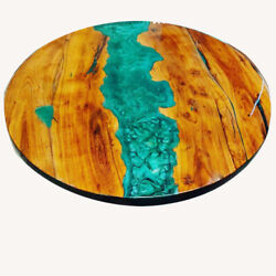 Round Epoxy Wooden Walnut Dining Center Side Table Handmade Decor Made To Order