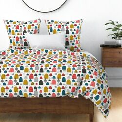 Mid Century Modern Abstract Beach Buoys Water Sateen Duvet Cover By Roostery