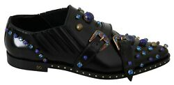 Dolce And Gabbana Shoes Black Leather Blue Crystal Monk Baroque Slippers Eu43/us10