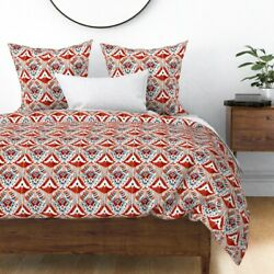 Red Ikat Abstract Watercolor Watercolour White Sateen Duvet Cover By Roostery