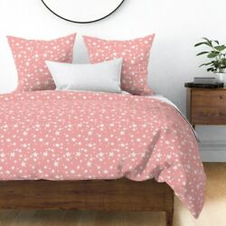 Pink Star Nursery Stars Baby Girl Sateen Duvet Cover by Roostery