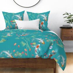 Koi Pond Japanese Water Fish Garden Bamboo Teal Sateen Duvet Cover By Roostery