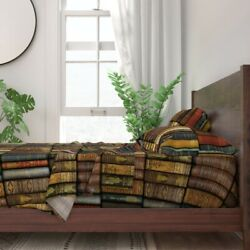 Books Literary Shelves Nerd Reading 100 Cotton Sateen Sheet Set By Roostery