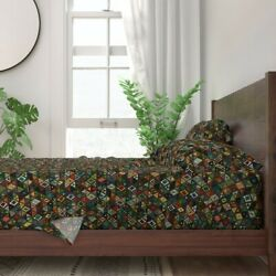 Sun Bear Geometric Triangles Coordinate 100 Cotton Sateen Sheet Set By Roostery
