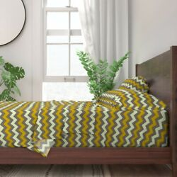 Chevron Zig Zag Coordinate Yellow 100 Cotton Sateen Sheet Set By Roostery