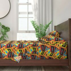 Cassette Tape Music Retro 1980s 100 Cotton Sateen Sheet Set By Roostery