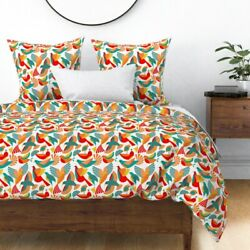 Birds Bauhaus Animals Home Stylized Hummingbird Sateen Duvet Cover By Roostery