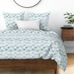 Water Textured Chevrons Painted Marks Tyre Mark Sateen Duvet Cover By Roostery