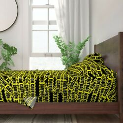 Caution Barricade Stripes Tape Warning 100 Cotton Sateen Sheet Set By Roostery