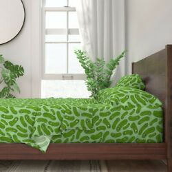 Pickles Pickled Cucumbers Jars Faces 100 Cotton Sateen Sheet Set By Roostery