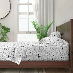 Black And White Bullterrier Dog Bull 100 Cotton Sateen Sheet Set By Roostery
