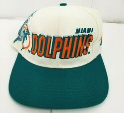 Miami Dolphins Sports Specialties Shadow Snapback Hat White Dome Vintage 90s