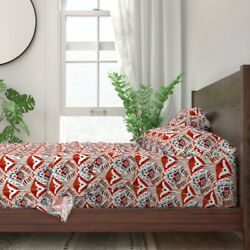 Red Ikat Abstract Watercolor 100 Cotton Sateen Sheet Set By Roostery