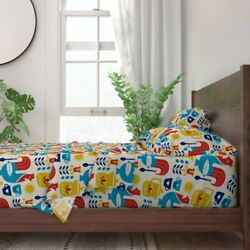 Morning Coffee Breakfast Rooster Mug 100 Cotton Sateen Sheet Set By Roostery