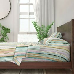 Striped Watercolor Pastel Color Rainbow 100 Cotton Sateen Sheet Set By Roostery