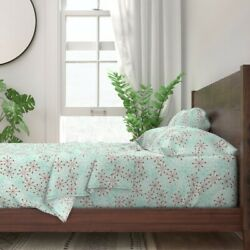 Atomic Bursts Snowflakes Christmas 100 Cotton Sateen Sheet Set By Roostery