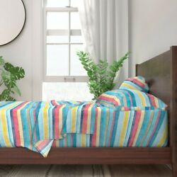 Stripes Coordinate Blue Retro Yellow 100 Cotton Sateen Sheet Set By Roostery