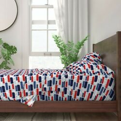 Usa Bricks Independence Day With 100 Cotton Sateen Sheet Set By Roostery