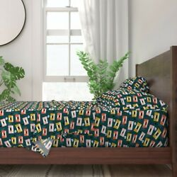 Vintage Retro Music Audio Cassette Tape 100 Cotton Sateen Sheet Set By Roostery