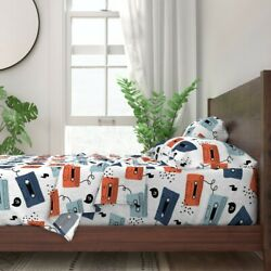 Abstract Cassette Tapes Blue And Orange 100 Cotton Sateen Sheet Set By Roostery