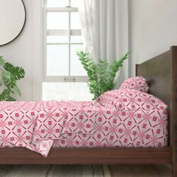 Coordinate Modern Geometric Deco Pink 100 Cotton Sateen Sheet Set By Roostery