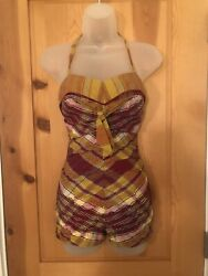 Catalina California Vintage 1950s Plaid Pinup Swimsuit Bathing Suit Gathered