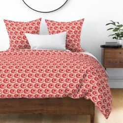 Vintage Retro Kitschy Donut Food Pink Breakfast Sateen Duvet Cover By Roostery