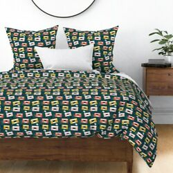 Vintage Retro Music Audio Cassette Tape Rock Sateen Duvet Cover By Roostery
