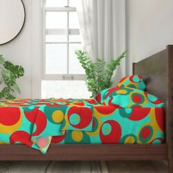 Circles Large Coordinate Bright Red 100 Cotton Sateen Sheet Set By Roostery
