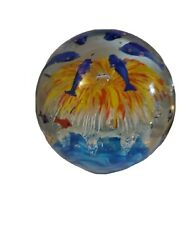 6 Heavy Glass Sea World Of Bubbles And 5 Dolphins Colorful Murano Style
