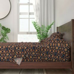 Horses Persian Carpet Colt Navy 100 Cotton Sateen Sheet Set By Roostery