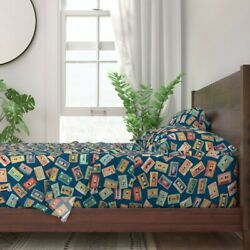 Music 80s Cassette Tape 90s Record 100 Cotton Sateen Sheet Set By Roostery