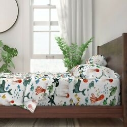 Ocean Swim Watercolor Sea Turtle Sting 100 Cotton Sateen Sheet Set By Roostery