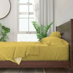 Mustard Yellow Triangle Coordinate 100 Cotton Sateen Sheet Set By Roostery