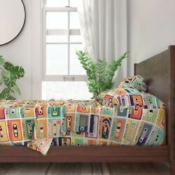 Retro Nostalgic Cassette Tape Compact 100 Cotton Sateen Sheet Set By Roostery