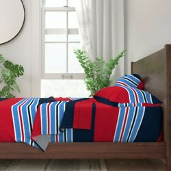 Coordinate Red Navy Blue White Stripes 100 Cotton Sateen Sheet Set By Roostery