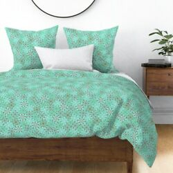 Atomic Burst Snowflakes Winter Christmas Sateen Duvet Cover By Roostery