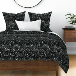 Black And White Black Background Paint Splatters Sateen Duvet Cover By Roostery