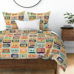 Retro Nostalgic Cassette Tape Compact Audio 80s Sateen Duvet Cover By Roostery