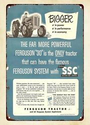 1952 Ferguson 30 Tractor With Ssc Suction Side Control Metal Tin Sign