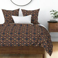 Horses Persian Carpet Colt Navy Oriental Red And Sateen Duvet Cover By Roostery