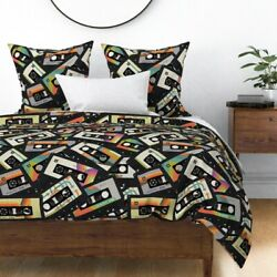 Cassette Retro Graphic Art Colorful Music Tapes Sateen Duvet Cover By Roostery