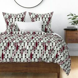 Winter Mod Mid Century Claret Midnight Lamp Sateen Duvet Cover By Roostery