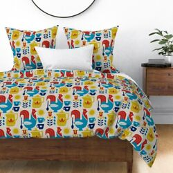 Morning Coffee Breakfast Rooster Mug Sun Coffe Sateen Duvet Cover By Roostery