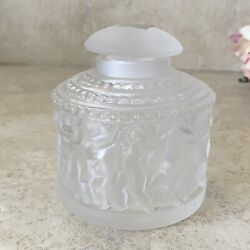 Antique Lalique France Frosted Cap Clear Crystal Perfume Bottle Cherubs