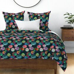 Watercolor Opals Precious Stones Crystals Rocks Sateen Duvet Cover By Roostery