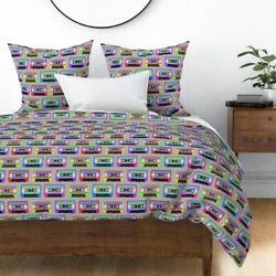 Colorful Cassette Tapes Retro Hipster Tape Music Sateen Duvet Cover By Roostery